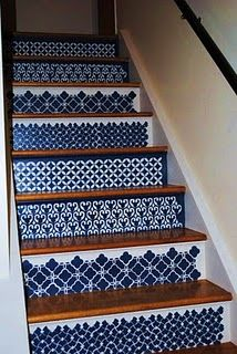 The Decorative Paintbrush, Designs by Mary Mollica: Moroccan Stenciled Steps- this would make an amazing dresser Decor, Fun Decor, House Design, Moroccan Decor, House Inspiration, Home Decor, Home Deco, Tile Stairs, Stairs