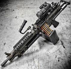 The M249 light machine gun (LMG), formerly designated the M249 Squad Automatic Weapon (SAW), and formally written as Light Machine Gun, 5.56 mm, M249, is the American adaptation of the Belgian FN Minimi, a light machine gun manufactured by the Belgian company FN Herstal (FN).