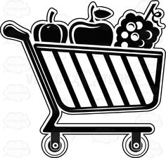 Shopping Cart Buggy With Fruits And Vegetables Inside Black And White Computer Icon #basket #buying #carriage #carry #checkout #computer #e-commerce #icons #interface #internet #laptop #navigations #PDF #retail #set #shopping #store #supermarket #symbols #technology #trolley #trundler #vectorgraphics #vectors #vectortoons #vectortoons.com #wagon #website #wheels
