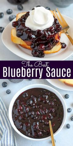 This easy Blueberry Sauce is made with sugar, orange juice and lots of fresh blueberries. Use it as a topping for cheesecake, pound cake, yogurt, waffles, pancakes, and more. #blueberries #blueberry #fruit #topping #sauce
