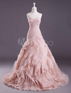 Vestido de noiva rosa a linha Strapless querida pescoço hierárquico de varredura - Milanoo.com
