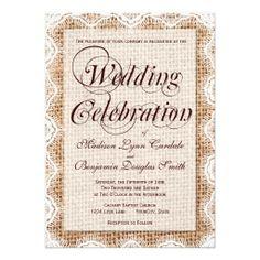 Rustic Burlap Lace Wedding Celebration Invitations