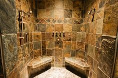 Ways To Use That Room Below Your Stairs Dream Slate Shower Dual Headed Slate Shower. Good countries Dream Home Workshop, Landscaped . Cabin Bathrooms, Rustic Bathrooms, Dream Bathrooms, Beautiful Bathrooms, Tile Bathrooms, Bathroom Mirrors, Master Shower, Master Bathroom, Slate Bathroom