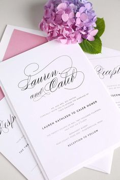 Elegant and Classic wedding invitations with gorgeous script in dusty rose pink