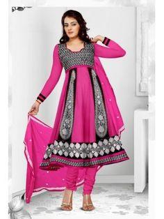Pranky Pink and Black Anarkali Churidar Suit with Dupatta 8457