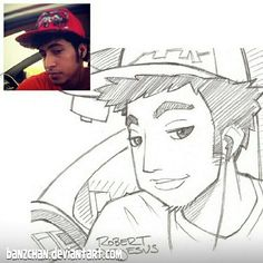 American artist Robert DeJesus continues to transform strangers' photos into anime versions of themselves and we thought it's high time to look at his new works Sketches Of People, Drawing People, Portrait Sketches, Portrait Art, Portraits, Cartoon Sketches, Cartoon Styles, Real Manga, Persona Anime