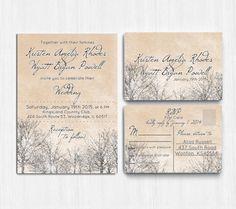 Winter Wedding Invitation Printable Wedding by PrintableMoon, $14.00