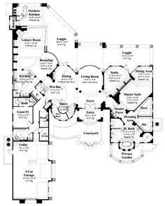 """The Sater Design Collection's luxury, European home plan """"Vienetta"""" (Plan #6960). saterdesign.com"""