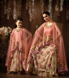 6ed3b14c71 Mother and Daughter Jacquard Floral Print Anarkali Suit Wedding Salwar Suits,  Bridal Anarkali Suits,
