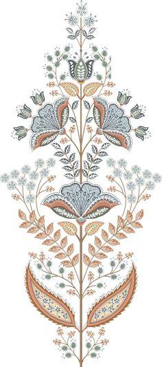Botanical Flowers, Botanical Prints, Pattern Art, Pattern Design, Zentangle, Border Embroidery Designs, Paisley, Art And Craft Design, Indian Prints