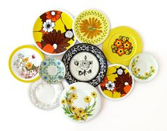 Autumn Flowers - TIN SAUCERS - Instant Collection, Set of 10 Pieces