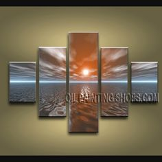 Primitive Contemporary Wall Art Oil Painting On Canvas Panels Gallery Stretched Sunrise. This 5 panels canvas wall art is hand painted by E.Cheung, instock - $145. To see more, visit OilPaintingShops.com