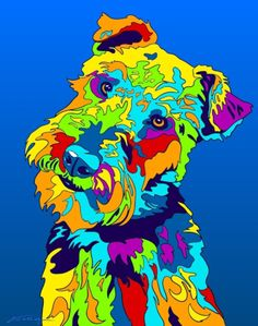 Multi-Color Welsh Terrier Dog Matted Prints & Canvas Giclées. Hand painted and printed in USA by the artist Michael Vistia. Dog Breed: The Welsh Terrier originates from Wales and was originally bred f