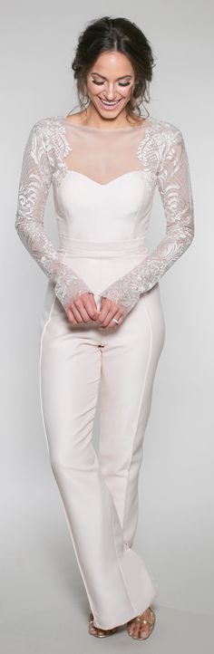 "Olivia Jane | The ""wedding pant suite"" features an illusion long sleeve bodice with a pin tuck pant."
