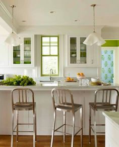 Accent green around window and cabinet background