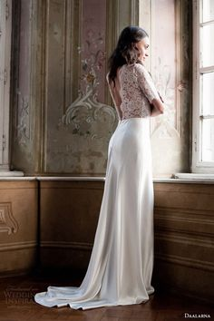 daalarna 2014 wedding dress half sleeve lace bodice #wedding #dress #bride