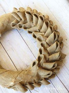 How to make an inexpensive burlap wreath- tutorial #make #wreath #howto skiptomylou.org Easy Burlap Wreath, Burlap Wreath Tutorial, Diy Wreath, Wreath Making, Burlap Bubble Wreath, Tulle Wreath, Wreath Ideas, Camo Wreath, Chevron Burlap Wreaths