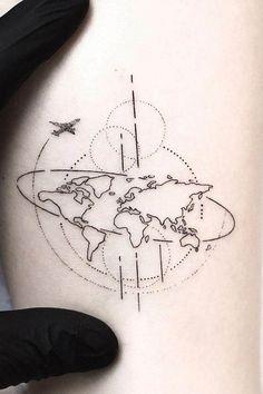 Amazing Geometric Tattoos For 2020 - Page 87 of 99 - CoCohots Tattoos Partner, Couple Tattoos, World Map Tattoos, Planet Tattoos, Red Star Tattoo, Mini Tattoos, Hot Tattoos, Ankle Tattoos, Arrow Tattoos