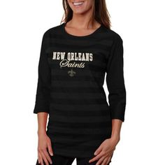 New Orleans Saints Ladies Nostalgia Three-Quarter Length Sleeve T-Shirt - Black