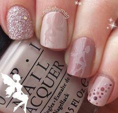 Orchids pink nails with fairy print