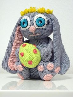 Crochet Pattern Bunny Bonnie Amigurumi  PDF Cute Grey Easter