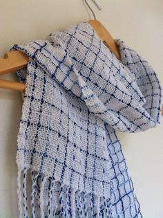 Lightweight Blue and White Scarf by kristyWeaves on Etsy, $45.00