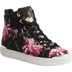 new products e1f5a e591f Ted Baker Vleil High Top Flat Trainers, Citrus Bloom Print ( 120) ❤ liked.  Skor Sneakers