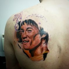 Bruce lee full colour portrait tattoo.. work in progress