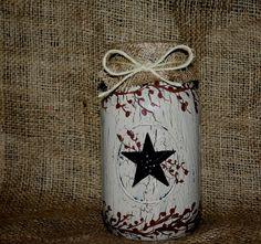 crackle mason jars with stars or saying make those shelves pop with color done for you at vintage primitives on facebook.