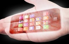 Mobile Phones & Keyboards Projected Onto Palms by Masatoshi Ishikawa