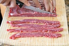 This is the flank steak, which in our opinion, created the best tasting jerky we've had! It is a fattier meat so it's much more moist. Keep in mind that fatty meats do not last as long, so you have to eat the jerky within 2 weeks or it will spoil. So typically it's best to use lean cuts of meat because it preserves longer. You can also trim off excess fat.