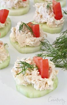 Greek Chicken Salad on Cucumber Slices with feta and fresh dill. The Creativity Exchange