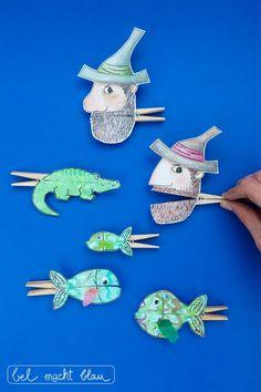 Unsere liebsten Tischsprüche und lustige Klammerfiguren   bel macht blau Sea Creatures Drawing, Diy For Kids, Crafts For Kids, Cardboard Toys, Diy Crafts To Do, Carnival Birthday Parties, Book Drawing, Candy Stripes, Chain Stitch