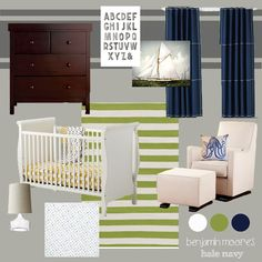 nautical nursery with yellow-greens and navy blues, good with brown as well as white furniture
