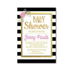 Baby Shower Printable Invitation - Black & White Stripe with Pink and Gold Foil by Invites2Adore
