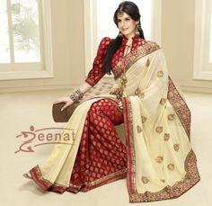 13e131258 gorgeous red and white Zarine Khan In Banarsi Sarees