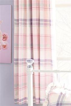 Check Ruffle Pencil Pleat Curtains