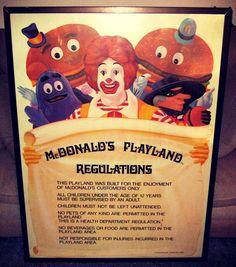Vintage framed McDonald's Playland Regulations featuring retro McDonaldland characters Ronald McDonald, Grimace, the Hamburglar, Mayor McCheese, and Officer Big Mac. Found on ebay.