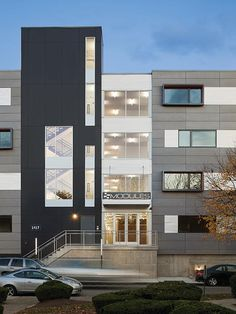 The Modules stacks 72 prefabricated stick-framed apartment units atop a concrete and steel plinth.