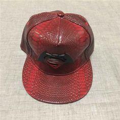 Fashion Men Swag Superman Batman Design Metal Logo PU Leather Snapback Baseball Cap Hat
