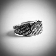 Sterling Silver Mans Signet Ring, Handcrafted, Oxidized, Mens Ring, Signet Ring, Oxidized Ring, Mens Jewelry, Gift, For Him, Industrial Ring. Cool, tough, and industrial handcrafted in sterling silver, patinated, and given a realistic scratched finish, this ring looks like the real thing.