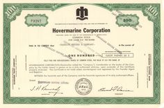 Awesome hovercraft collectible - Hovermarine Corporation stock certificate The company produced a lot of ferries but was not financially successful. Money Frame, Company Names, Company Logo, Dashboard Interface, Transportation Technology, Common Stock, Stock Portfolio, Retro Vector, Native American History