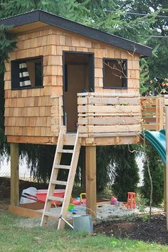 DIY playhouse is a simple and inexpensive way to provide your children with a safe environment in which to play outdoor backyard. There are many different styles of playhouse plans. Modern Playhouse, Kids Indoor Playhouse, Outside Playhouse, Backyard Playhouse, Build A Playhouse, Childrens Playhouse, Playhouse For Boys, Cedar Playhouse, Playhouse With Slide