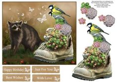 Old Boot Garden Topper with Decoupage on Craftsuprint - Add To Basket!