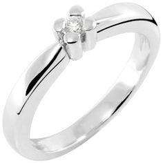 Prsten, belo zlato, brilijant