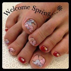 Pedicure, Toe Nail Art: Flowers