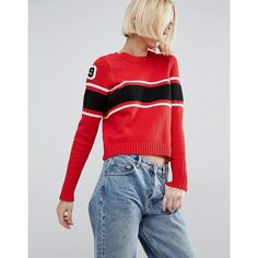 ASOS Jumper with Stripes and Badges (£28) ❤ liked on Polyvore featuring tops, sweaters, multi, party jumpers, striped jumper, striped crewneck sweater, party tops and asos sweaters