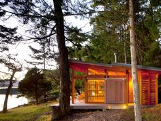 Vancouver-based architect firm Osburn/Clarke designed a series of vacation summer cabins in the Gulf Islands of British Columbia, Canada that intimately connect with their surrounding environment. Cedar Cabin, Timber Cabin, Timber House, Wood Cabins, Cedar Deck, Cedar Wood, Little Cabin, Little Houses, Tiny Houses
