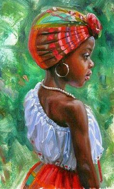 TE VES TAN PRECIOSA ! Black Love Art, Black Girl Art, My Black Is Beautiful, Beautiful Artwork, Art Girl, Arte Black, African Art Paintings, Black Art Pictures, Caribbean Art