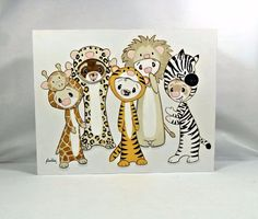 Shelly Mundel Art Original Painting Ferrets Safari Animal Costumes- Folk Art #FerretArt